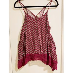 Bohemian plum colored floral tank